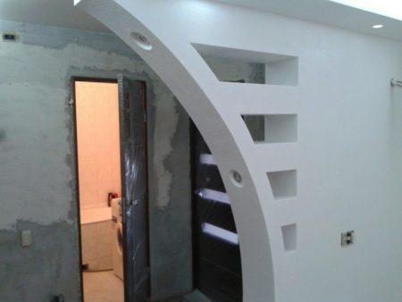 Пример межкомнатной арки из гипсокартона
