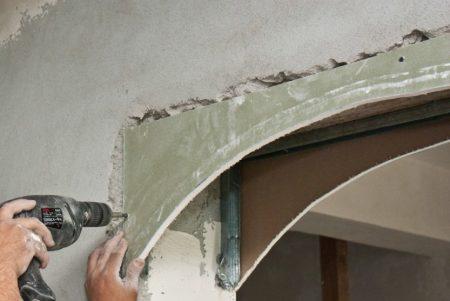 Пример монтажа арки из гипсокартона