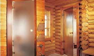Двери из стекла в бане